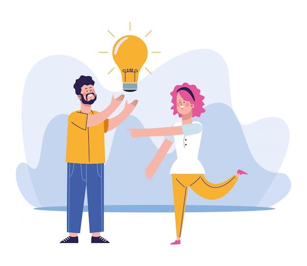 Hombre de dibujos animados sosteniendo una bombilla y mujer de pie