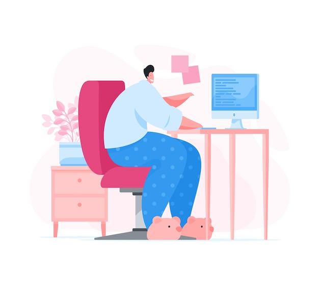 Hombre de dibujos animados trabajando remotamente desde casa.