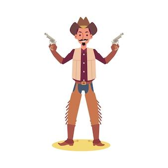 Hombre de dibujos animados en traje de vaquero sosteniendo dos pistolas y sonriendo - sobre fondo blanco. personaje del país occidental posando con pistola.