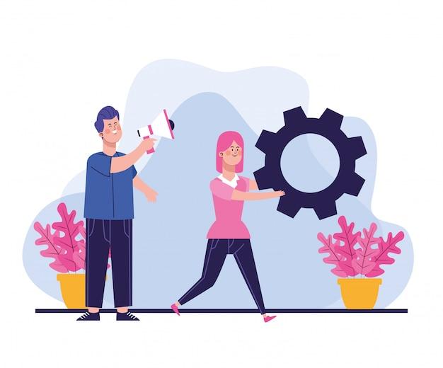 Hombre de dibujos animados usando un megáfono y una mujer con equipo grande
