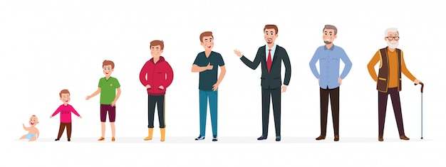 El hombre en diferentes edades. adolescente niño recién nacido, hombre adulto anciano. etapas de crecimiento, generación de personas. personajes de dibujos animados de vector