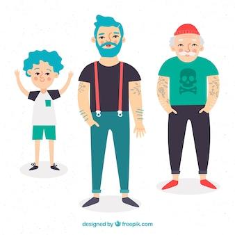 Hombre de diferentes edades