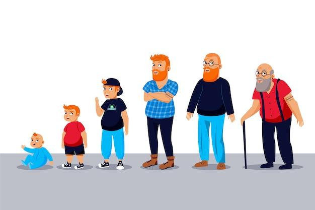 Un hombre de diferentes edades