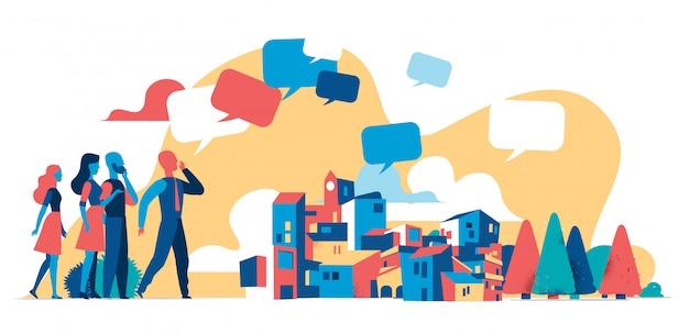 Hombre difundiendo noticias, mensajes en la ciudad, comunicador, mensajero, locutor