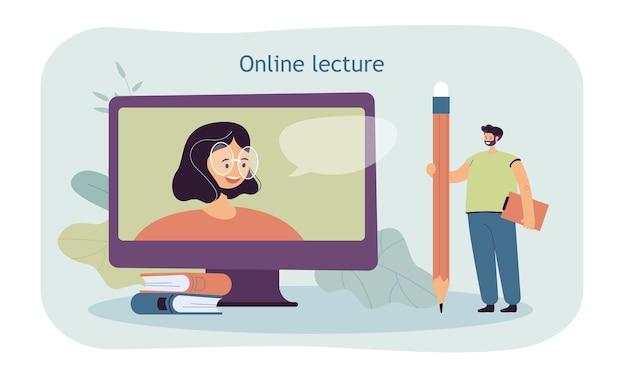 Hombre diminuto con lápiz gigante viendo una conferencia en línea