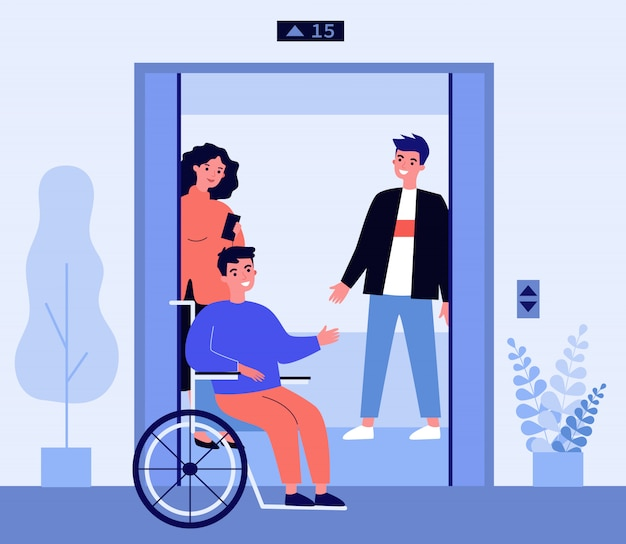 Hombre discapacitado entrando en la cabina del ascensor