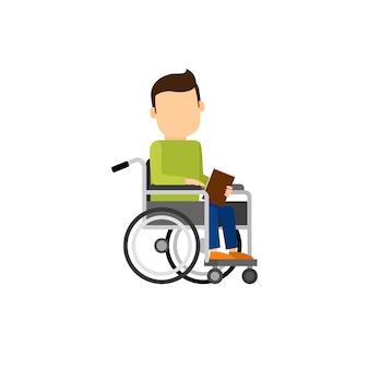 Hombre discapacitado con libro