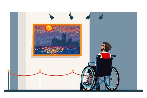 Hombre discapacitado en silla de ruedas visitando galería de arte, exposición de puntillismo, entorno cultural para personas con necesidades especiales