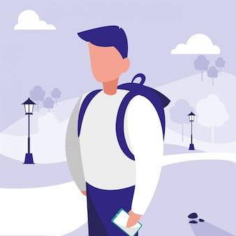 Hombre en diseño vectorial de parque
