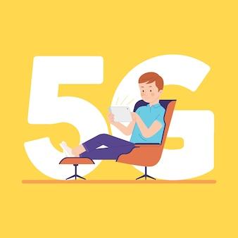 Hombre disfruta de conexión 5g de banda ancha