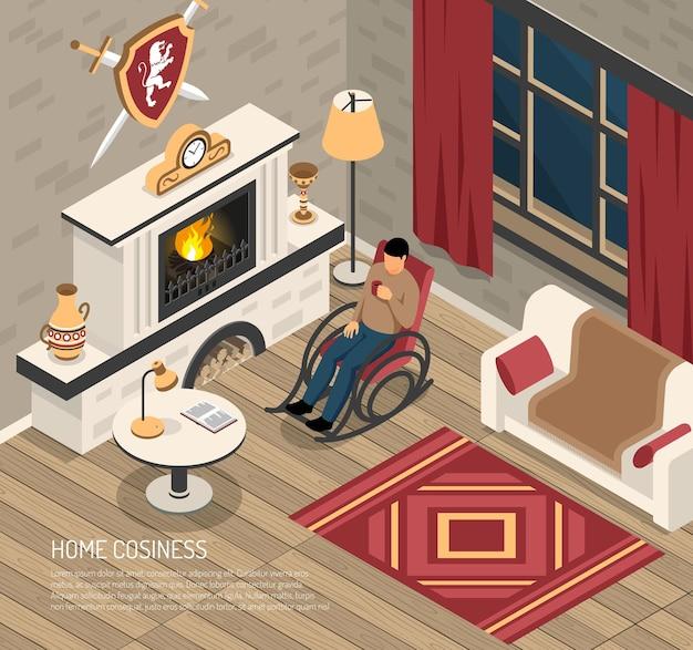 Hombre disfrutando de la comodidad de su hogar en la mecedora con bebida cerca de chimenea isométrica