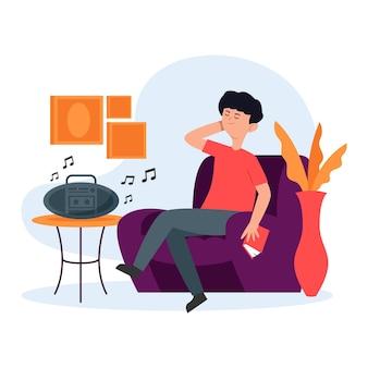 Hombre disfrutando de hermosa música en el interior