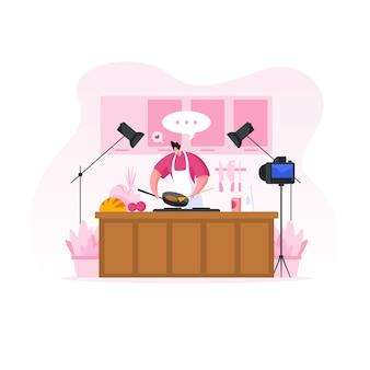 Hombre disparando video blog de cocina. ilustración de personas de dibujos animados