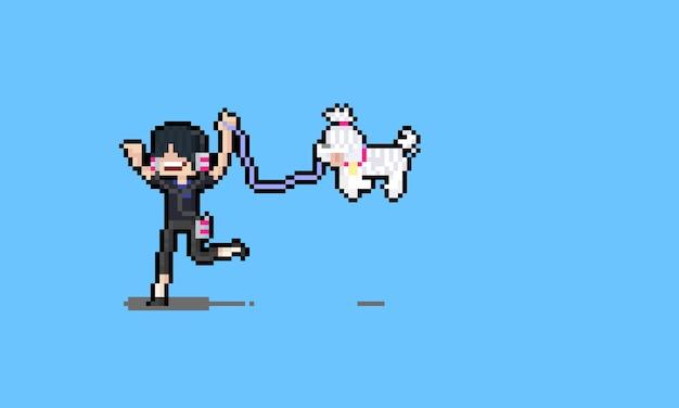 Hombre divertido de dibujos animados de pixel art con cachorro blanco.