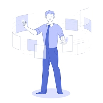 Hombre de documentos de consulta, concepto de tecnología empresarial del sistema de datos de gestión.