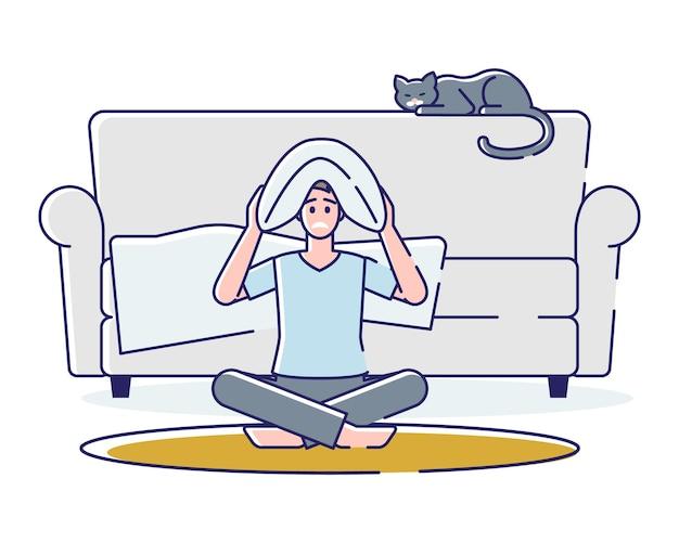 Hombre sin dormir enojado hombre de dibujos animados sentarse en el piso con almohada en la cabeza