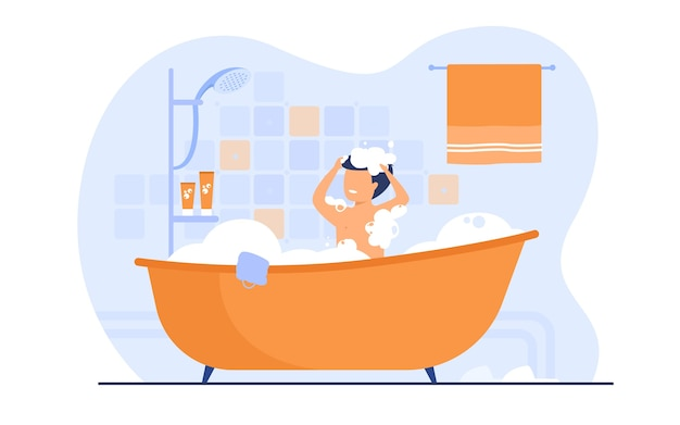 Hombre con ducha o baño, sentado en la bañera con espuma, lavándose el cabello. ilustración de vector de baño, higiene corporal, relax, concepto de mañana