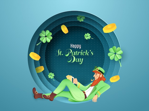 Hombre duende fumador sentado con monedas de oro y hojas de trébol decoradas en papel azul redondo, corte de capa, feliz st. tarjeta del día de patricks