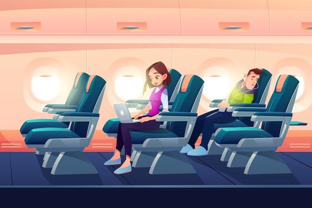 Hombre duerme en avión freelance chica trabajo