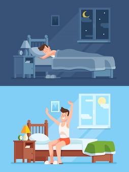 El hombre duerme bajo el cálido edredón por la noche, se despierta por la mañana y se levanta de la cómoda cama suave