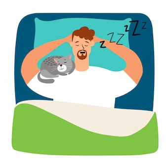 Hombre durmiendo en la cama con gato