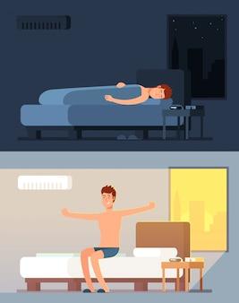 Hombre durmiendo pacíficamente y soñando en la cómoda cama por la noche y peppy despertando en concepto de vector de dibujos animados de mañana
