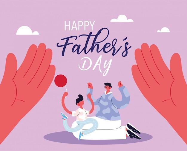 Hombre e hijo, tarjeta del feliz día del padre