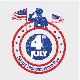 Un hombre del ejército saluda a la bandera de los estados unidos el día de la independencia el 4 de julio con un look vintage