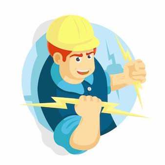 Hombre electricista sosteniendo una ilustración vectorial de iluminación