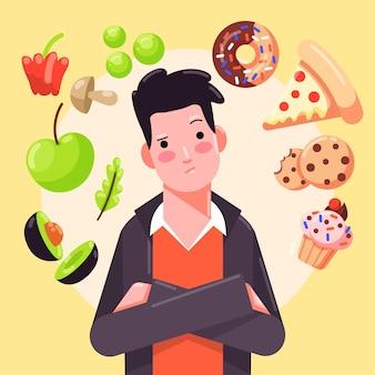 Hombre eligiendo entre alimentos saludables y no saludables