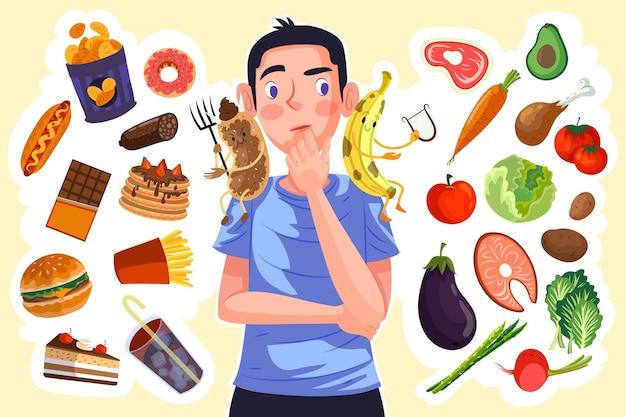 Hombre eligiendo entre alimentos saludables o no saludables