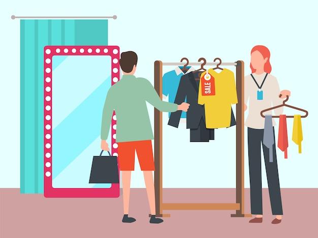 Hombre eligiendo ropa en vector de boutique de moda