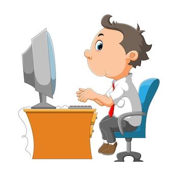 El hombre empleado está sentado frente a la computadora de la ilustración.