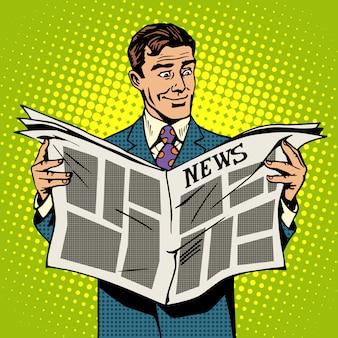 Hombre empresario leyendo periódico de noticias
