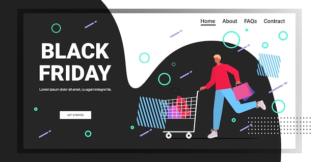 Hombre empujando carro carrito con bolsas de compras viernes negro gran venta promoción descuento concepto de longitud completa espacio de copia horizontal ilustración vectorial