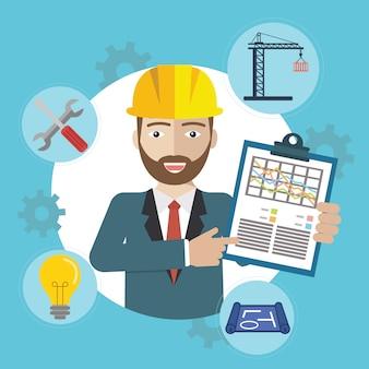 Hombre en sitio de construcción con iconos