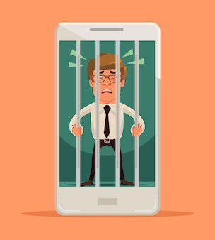Hombre encerrado en la ilustración del teléfono inteligente