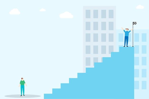 Hombre encima de las escaleras para trabajar el concepto de éxito
