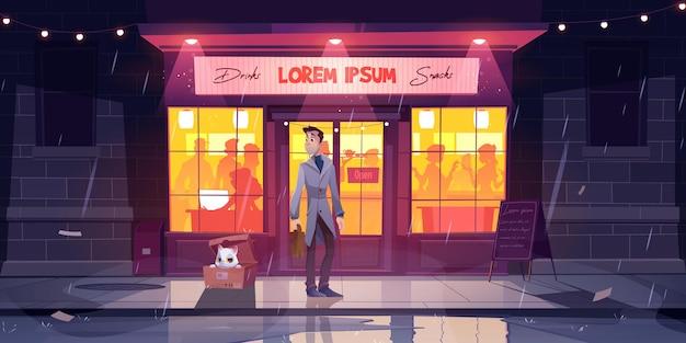 El hombre encontró el gato en la caja en el clima lluvioso en el frente de la calle de la ilustración de dibujos animados del café nocturno