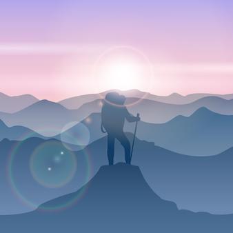El hombre se encuentra en la cima de la montaña. ilustración de hombre de viaje de montaña de vector. pico senderismo montaña, montaña superior, hombre de pie ilustración