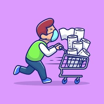 Hombre enmascarado empujando la carretilla con la ilustración del icono de dibujos animados de tejido. concepto de icono de virus de personas aislado. estilo de dibujos animados plana
