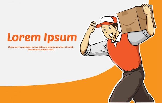 Hombre de entrega de dibujos animados en estandarte naranja uniforme