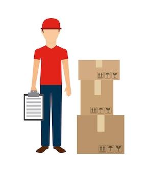 Hombre de entrega y el icono de paquete.