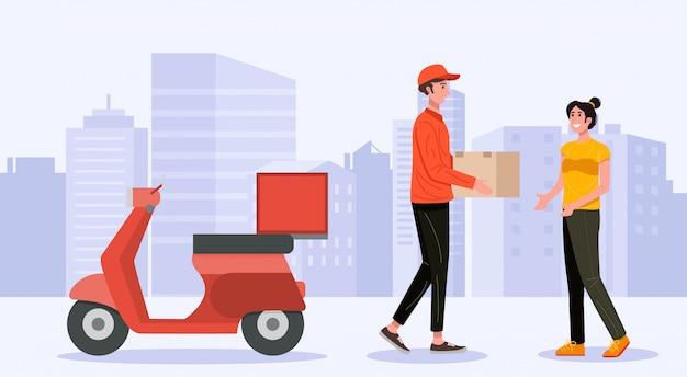 Hombre de entrega que maneja la caja del paquete del paquete al cliente. vector