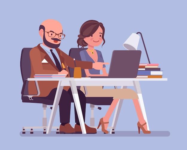 Hombre entrenando y asesorando a una joven empleada. ambiente de trabajo positivo en la oficina, apoyo y estímulo para desarrollar habilidades, relación efectiva con el aprendiz. ilustración de dibujos animados de estilo plano de vector