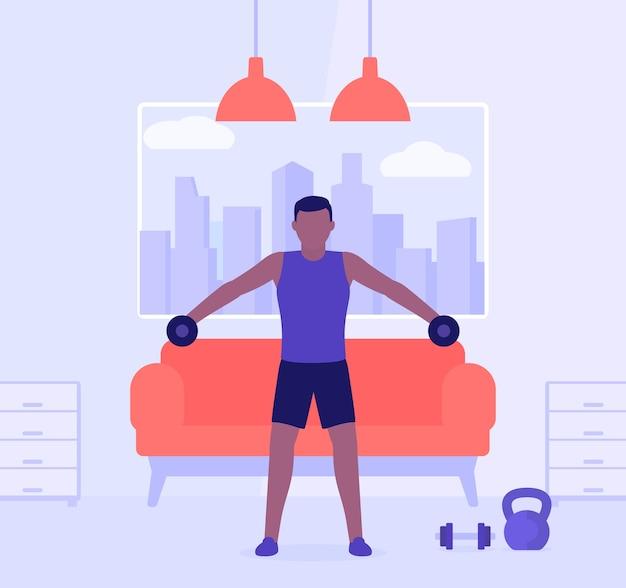 Hombre entrenando hombros en casa,