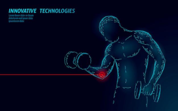 Hombre entrenando con lesión en el codo con mancuernas. concepto abstracto de la medicina deportiva poligonal área roja dolorosa. fuerte culturismo duele dolor problema de fitness. ilustración de deportista sanitario