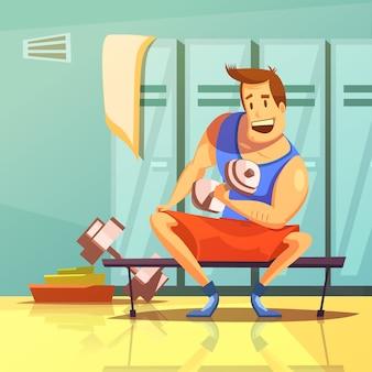 Hombre entrenando los músculos del brazo con mancuernas en una caricatura de gimnasio