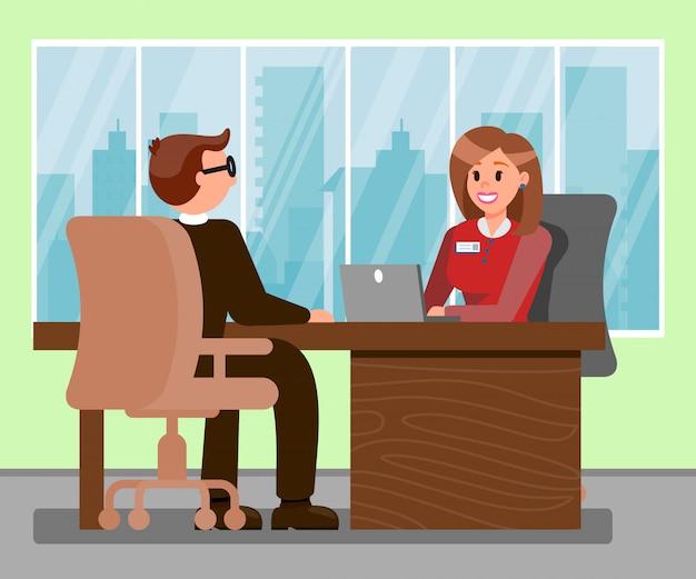 Hombre en la entrevista de trabajo color vector illustration