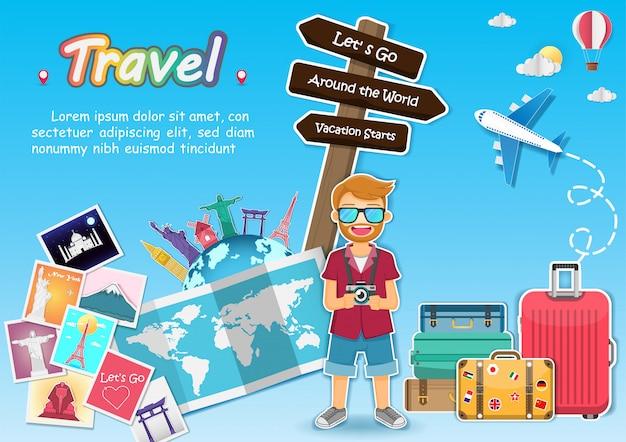 Hombre y equipaje viajan por todo el mundo concepto.